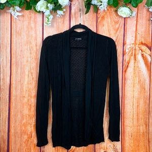 Boho Black Crochet Long Sleeve Cardigan 1356CH3